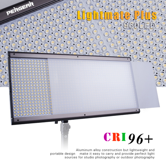 Pergear Lightmate Plus 960 Led Video Light Panel 58W High CRI 96+ 5500K Dimmeable Flat Panel Studio Video Light for Photography