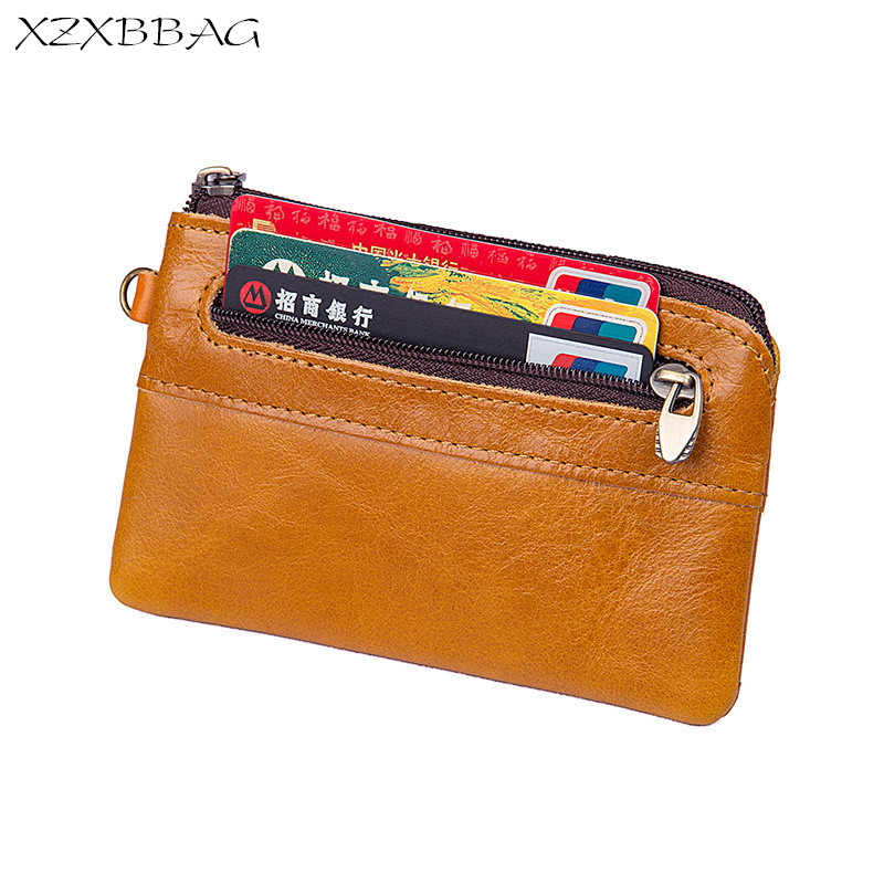 XZXBBAG Genuine Cowhide Leather Coin Purse Men Casual Small Wallet Male Change Purse Money Bag Zipper Mini Zero wallet XB092 цена