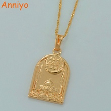 Islam Allah Necklaces for Women/Men,Muslim Mosque Pendant Muhammad of the Middle East Jewelry Gold Color #033704