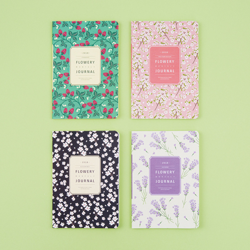2018 Flowery Monthly Journal 13*19cm Colorful Floral Planner Gift 64P Korean Fashion Stationery School Office Supplies floral flamingo theme creative 2018 weekly planner band journal notebook 13 9 19 4cm korean fashion scheduler 192p free shipping