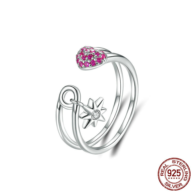 Heart Pin Open Ring For Women 925 Sterling Silver Full Pave Cz Star Adjustble Female Korean Accessories Bsr038