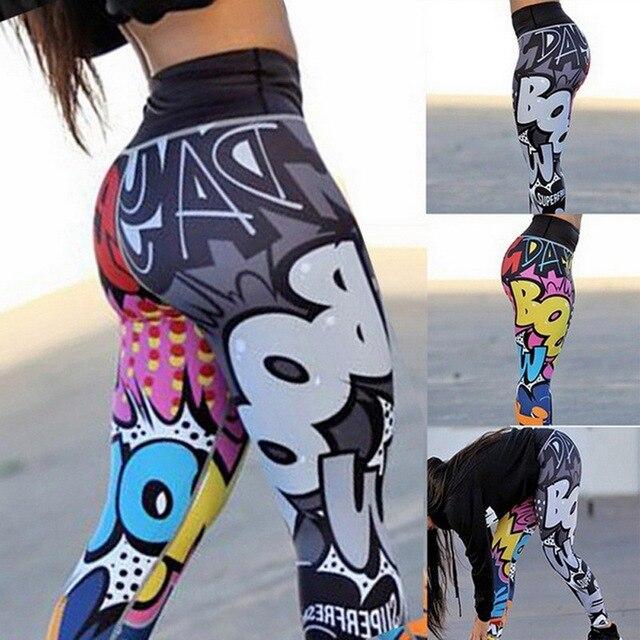 CALOFE kobiety wydrukowano legginsy Fitness Slim treningu spodnie legginsy dla kobiet Fashion legginsy z wysokim stanem oddychające Mujer 2019