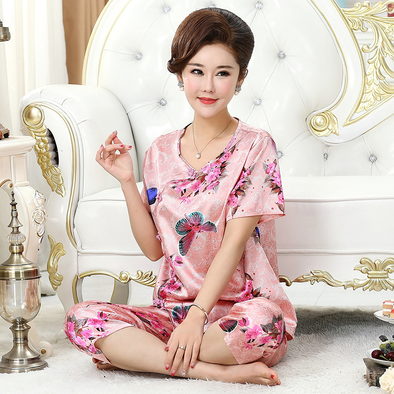 2019   Pajamas   Silk flower Print Plus Size 3XL 4XL Middle-aged Women Nightwear Women Sleepwear Pant pink Silk Mother   Pajama     Sets