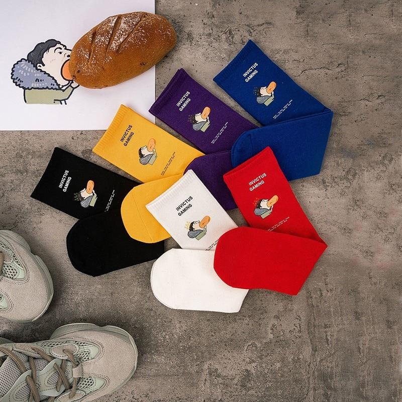 Men's socks casual fashion comfortable socks unisex sports socks cartoon characters eat hot dog Quality  couple socks
