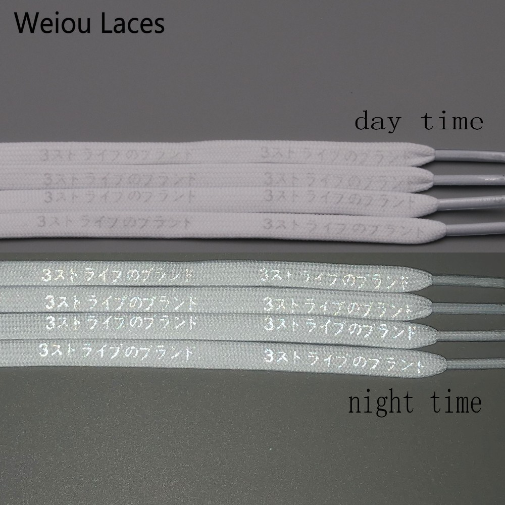(30Pairs/Lot)Weiou New Double Sides Printed White Black 3M Reflective Japanese Katakana Kanji Shoelaces 7mm Width Shoes Lacet