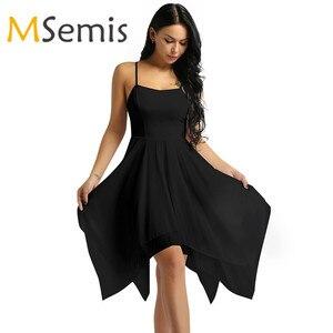 Image 1 - למבוגרים נשים אלגנטי עכשווי Dancewear בלט בגדי גוף לנשים ספגטי רצועת אסימטרית שיפון סלוניים שמלת ריקוד חדש