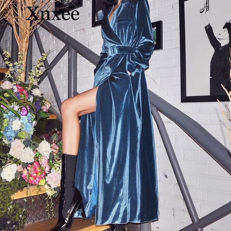 Xnxee velours femmes coupe-vent à manches longues à lacets Maxi Trench Coat femme mode 2019 automne vêtements de sortie d'hiver nouveau
