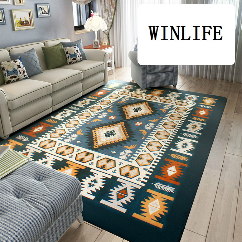 WINLIFE tapis de Style méditerranéen/nord européen tapis de sol en molleton de corail tapis de motif géométrique pour salon grands tapis