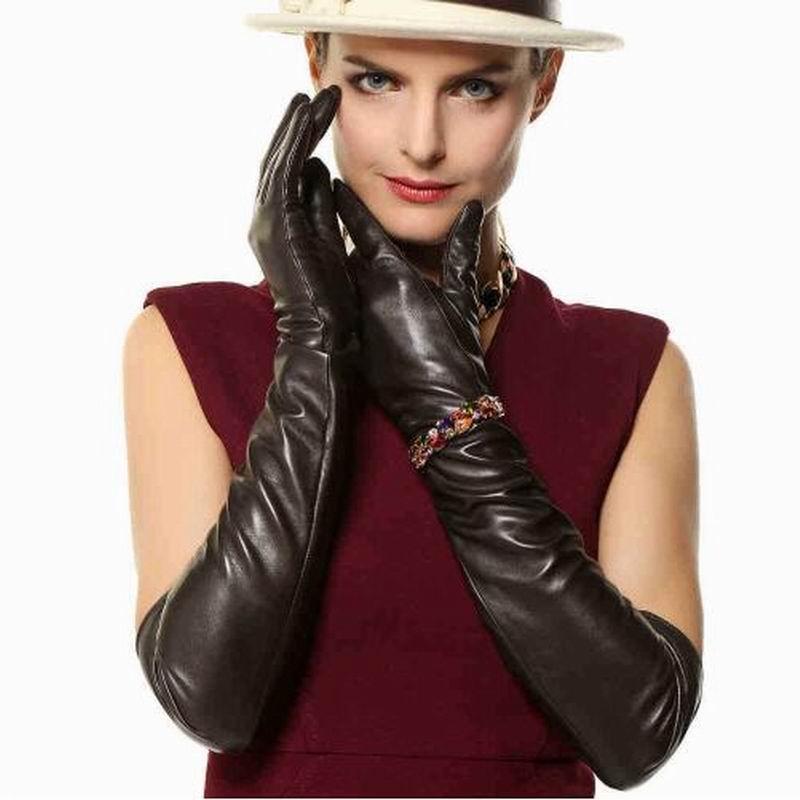 Gants de luxe pour femmes 100% en cuir véritable moufles en peau de mouton gants d'hiver chauds pour la mode femme gant luvas