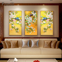 Chinese Style Bird Yellow Plant Landscape Combination Canvas Art Print Painting, Wall Picture For Living Room Home Decor my43 xdzs 22 23 2pcs chinese bird plant flowers print art