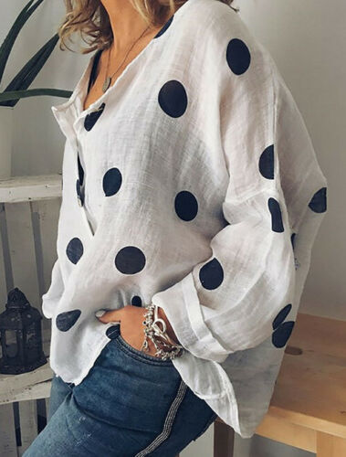 2019 Women Cotton Linen V Neck Blouse Ladies Summer Loose Baggy Tops Female Casual Button Shirts Woman Plus Size Clothes M-2XL