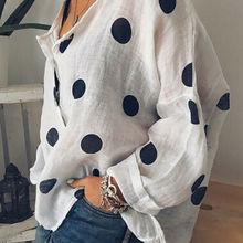 2019 Women Cotton Linen V Neck Blouse Ladies Summer Loose Baggy Tops Female Casu