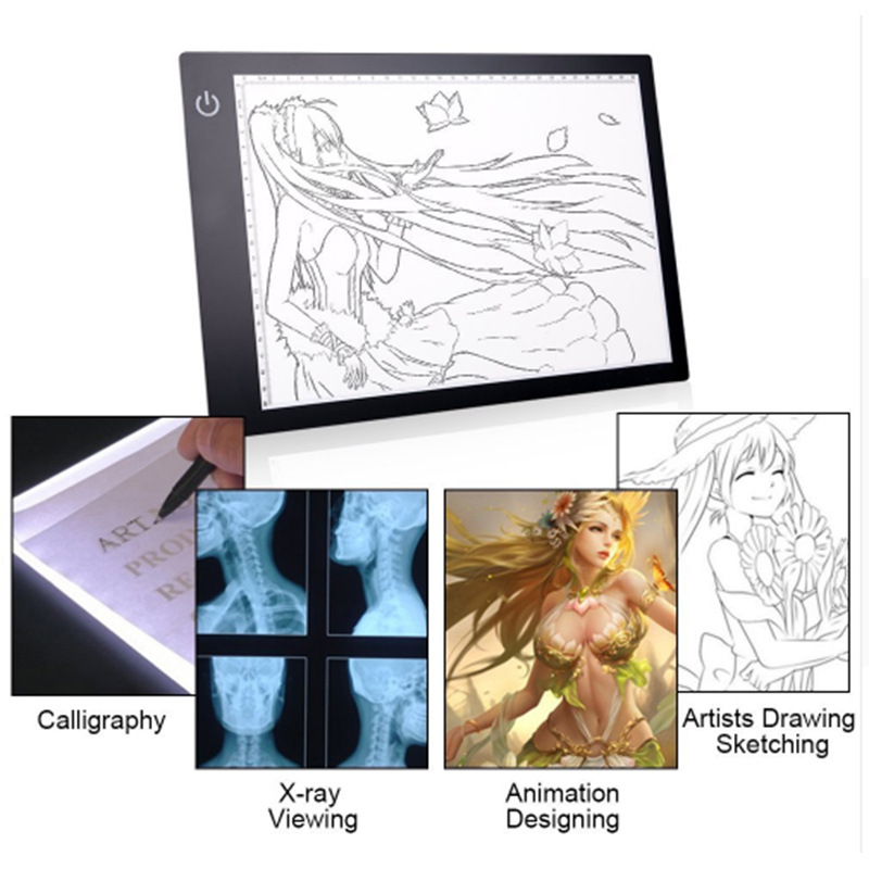 A4 Ultra-thin Portable LED Light Drawing Board Tracer Dimmable Calibration Artcraft Tracing Light Pad Canvas for Painting
