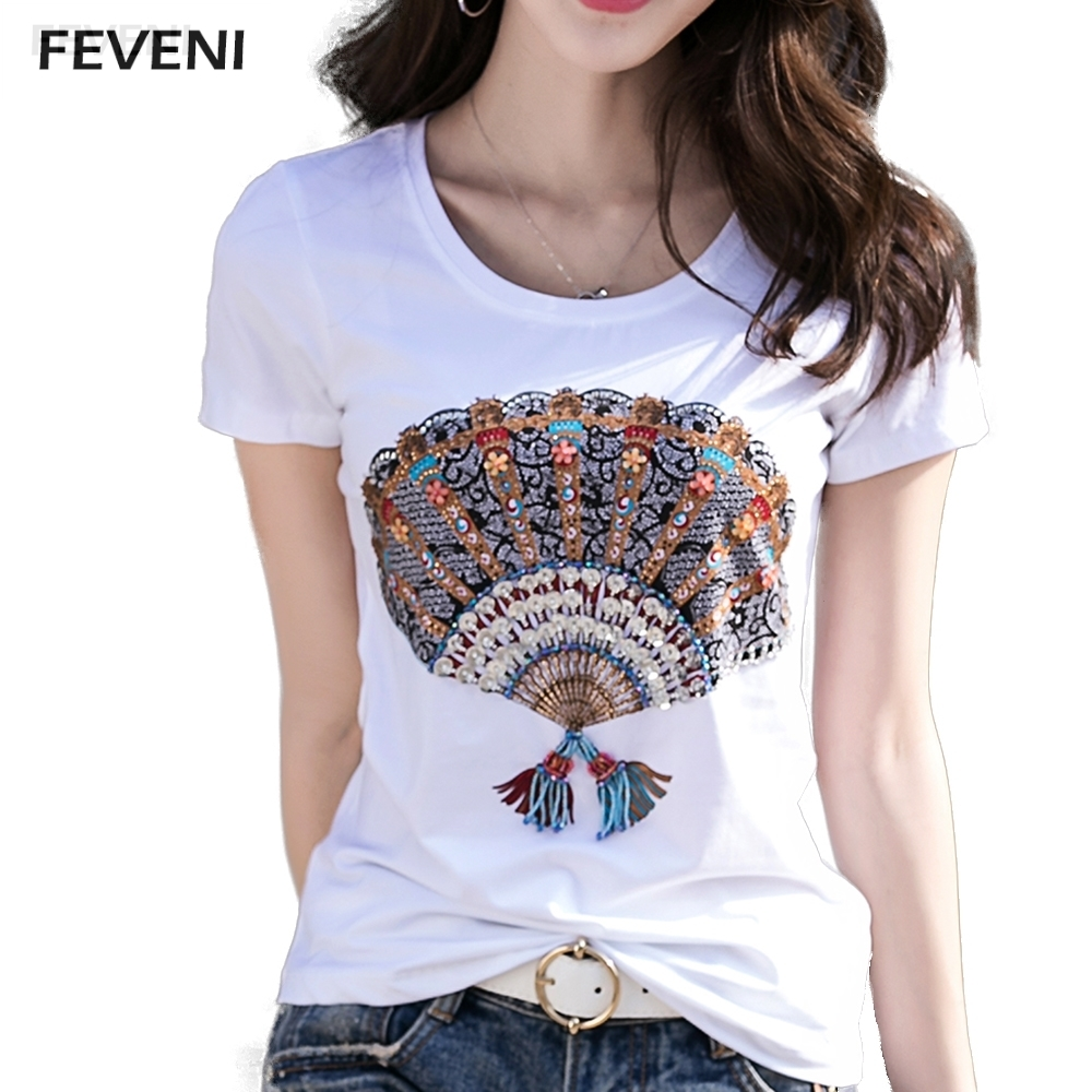 2017 high quality hand made beading t shirt women solid for Plain quality t shirts