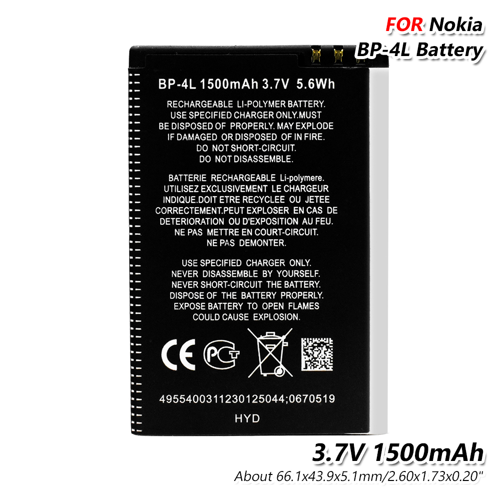 1pc 1500mAh Lithium BP-4L BP4L BP 4L Battery For Nokia E61i E55 E6 E63 E90 E95 E71 6650F 6650T N97 N810 E72 E52 Phone Batteries