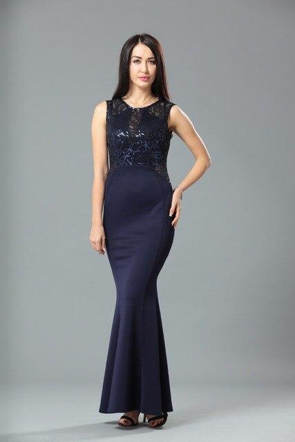 Lange Navy Blue Kleid Mermaid Haupt Recht Hohe Qualität ML19221 ...