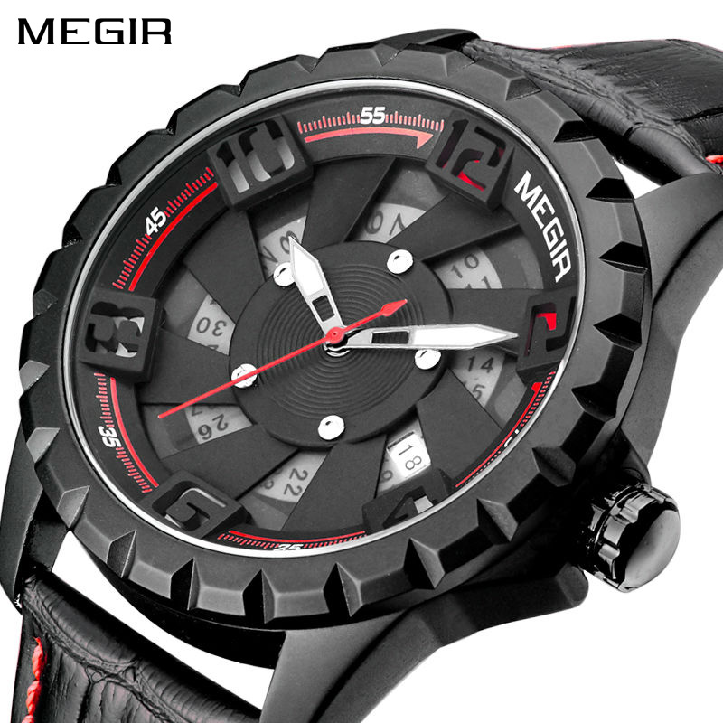 New MEGIR Men Watch Top Brand Luxury Leather Military Watch Clock Quartz Mens Watches Erkek Kol Saati Relogios Sports Wristwatch megir relogio masculino top brand luxury men watch leather strap chronograph quartz watches clock men erkek kol saati mens 2012