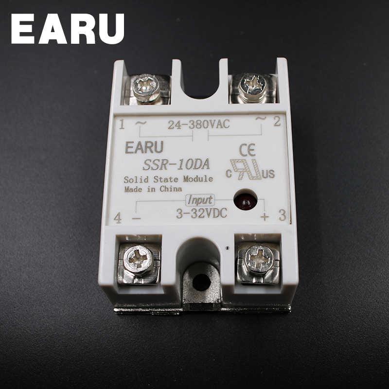 SSR-10DA SSR 10A módulo de relé de estado sólido 3-32V DC a 24-380V AC SSR 10DA controlador de temperatura industria cubierta de plástico