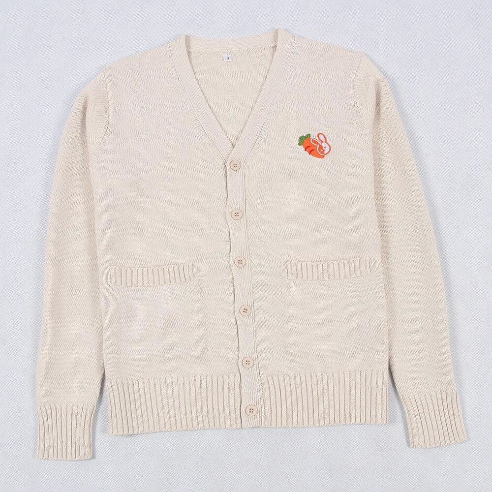 Japanese Jk School Uniform Girl Fashion Women Coat Embroidery Rabbit Radish Knit Sweater 2019 New Long Sleeve Jk Uniform Sweater