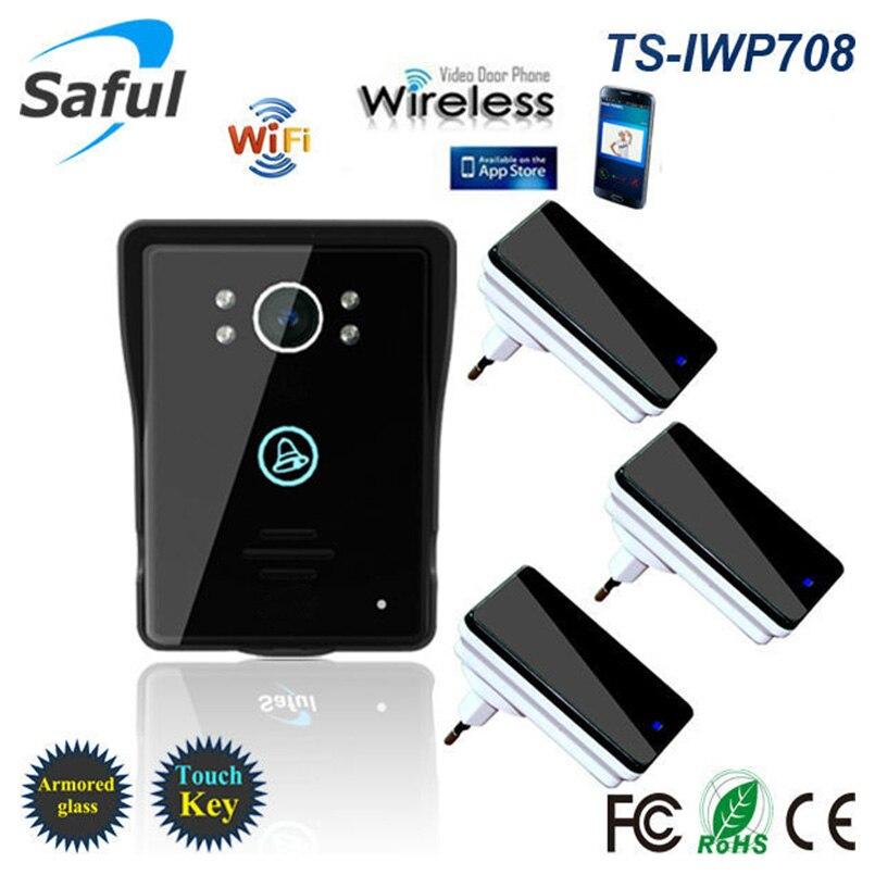 2018 Беспроводной Wi-Fi видео домофон для системы контроля доступа Android IOS телефон приложение Remote с 3 dingdong звонки