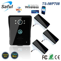 2018 wireless wifi video intercom door phone for access control system Android IOS Phone APP Remote with 3 dingdong doorbells
