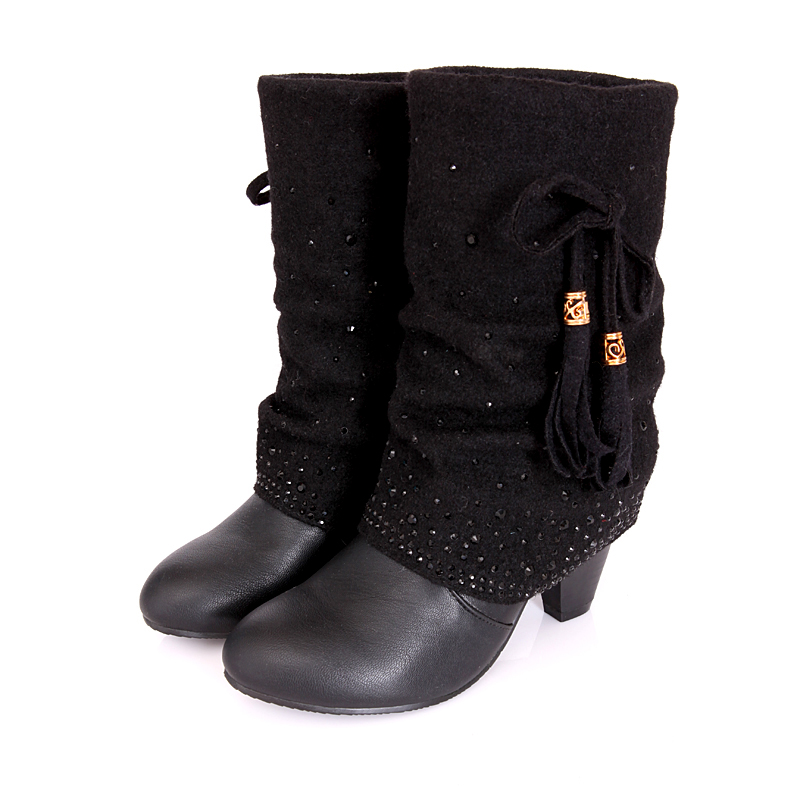 New Arrival Black Nude Color Pu Slip On Fashion Women Boots Big Size 35 43 Round Toe -2502
