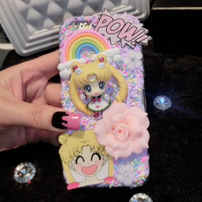 new arrival 46aff 0fb2e US $15.0 |25 designs Yellow Anime Girl 3D Anime Cartoon Kawaii Decoden  Whipped Cream Phone Case for galaxy ns8 plus case-in Rhinestone Cases from  ...
