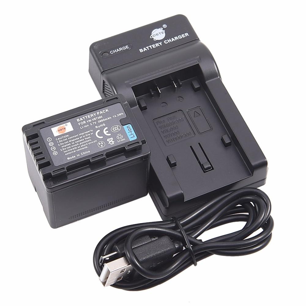 DSTE vw-vbt380 VW-VBT380 Li-ion Battery pack with USB port Charger for PANASONIC HC-V180GK HC-V380GK HC-W580GK HC-W580MGK free customs taxes super power 1000w 48v li ion battery pack with 30a bms 48v 15ah lithium battery pack for panasonic cell
