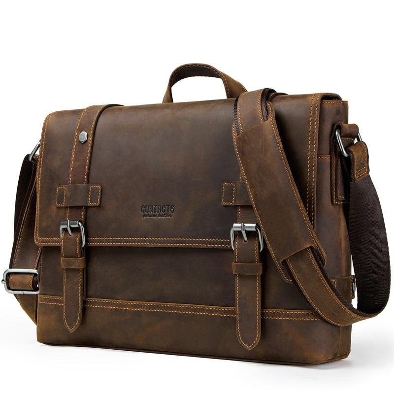 Cow Genuine Crazy Horse Leather Business Men's Briefcase Male Briefcase Shoulder Bag Men Messenger Bag Striped Tote Computer Bag