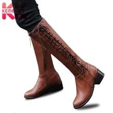 KemeKiss Plus Size 33-50 Women High Heels Boots Cross Strap Winter Knee High Boots Warm Fashion Women's Shoes Office Footwear