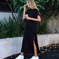 Missufe 2017 Black Long Women's Dresses Vestidos Ukraine Sarafan Streetwear Casual Straight High Split Summer Dress For Women