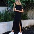 Ucrânia missufe 2017 preto longo vestidos vestidos das mulheres sarafan streetwear casual hetero alta dividir verão dress para as mulheres