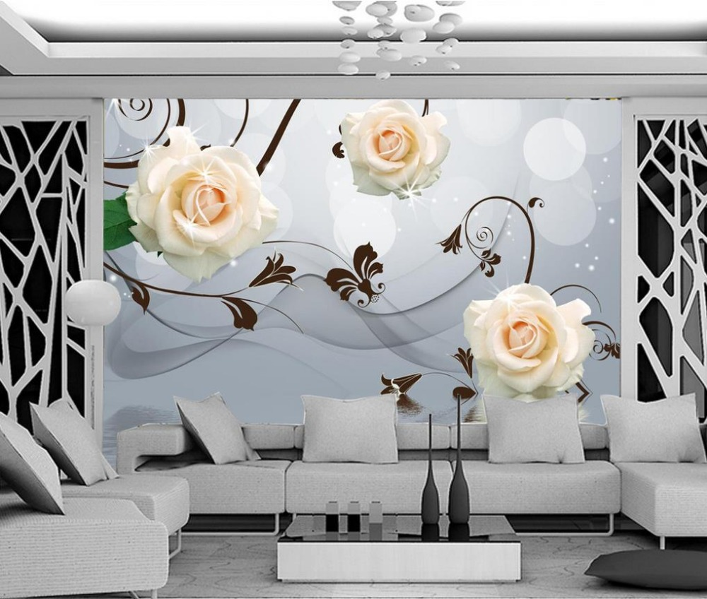 3d customized wallpaper wall 3d wallpaper Rose pattern reflection backdrop flower wallpaper 3d wallpaper for room