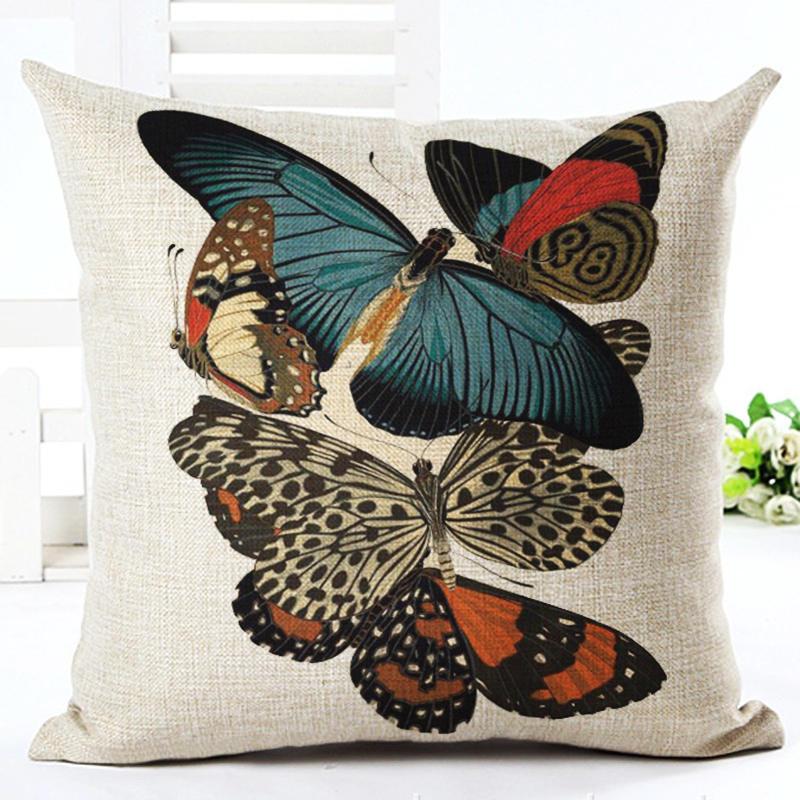 American country Linen Vintage Butterfly Cushion Cover Sofa Decorative Linen Throw Pillows Case Waist Pillow cover almofadas