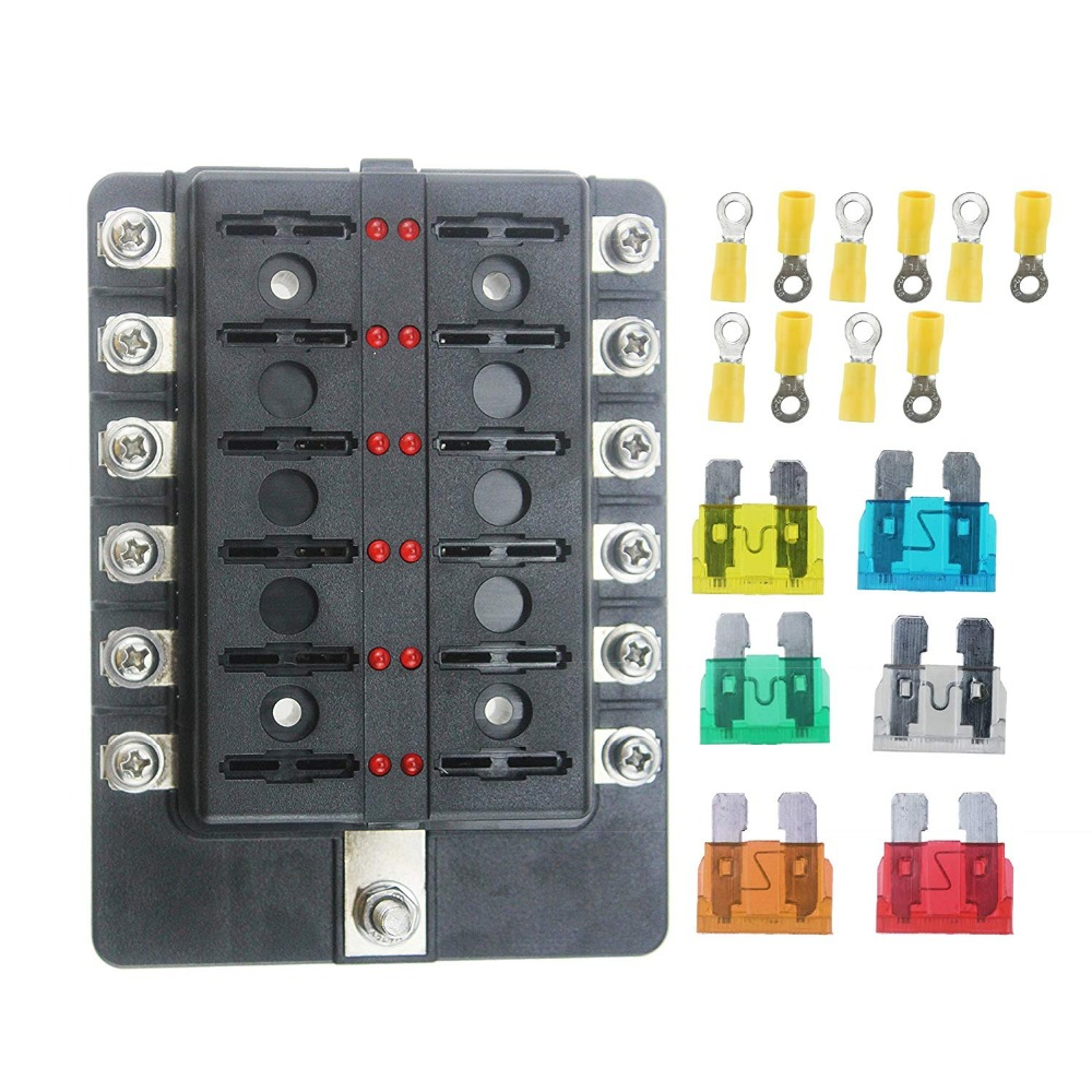 10 way and12 way Car Boat Marine Circuit LED Fuse Block Fuse Box with screw terminal with accessories and kits