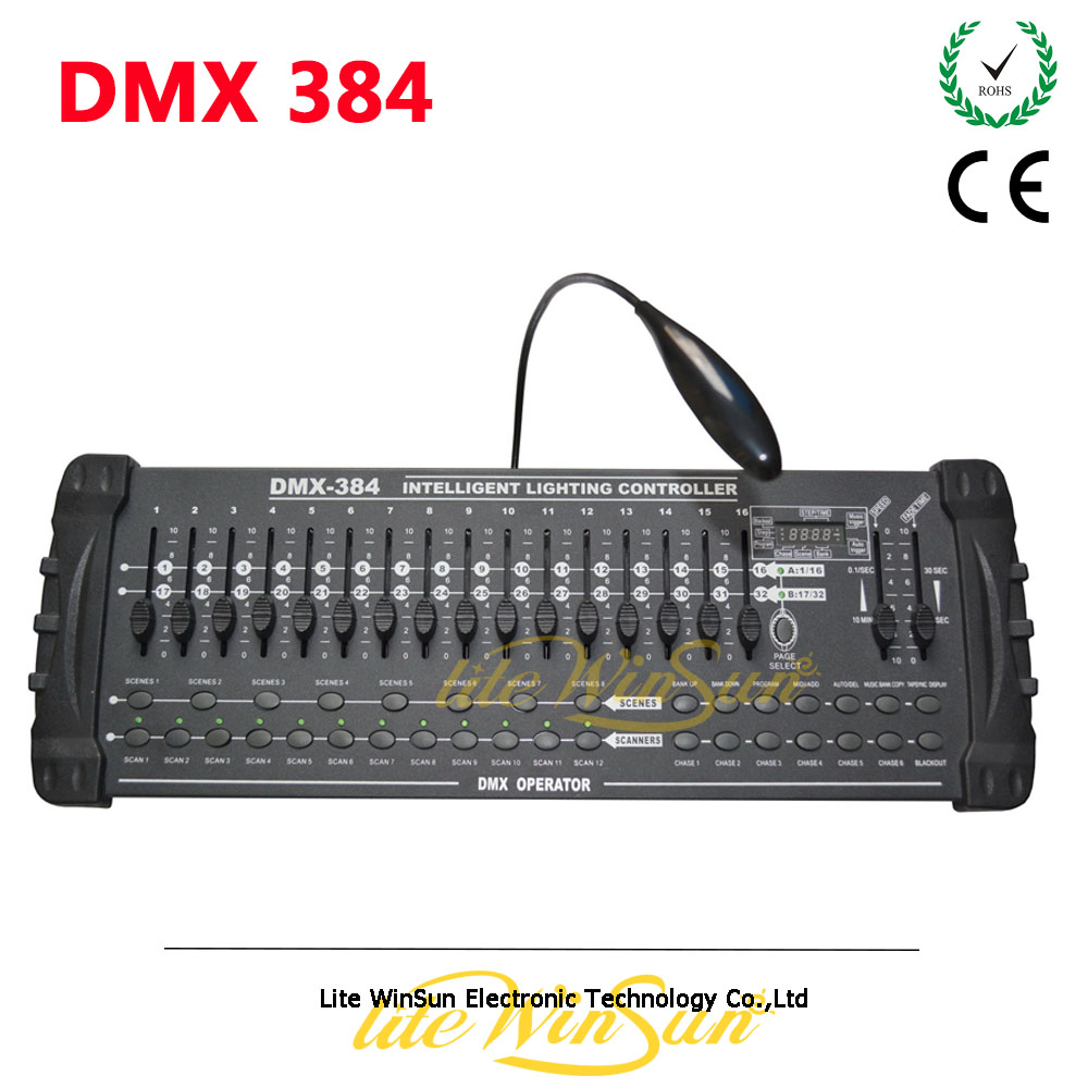 Litewinsune 384Channel DMX Stage Lighting Controller DMX512 Console 384 for Bar KTV Disco Room Party Show dmx512 digital display 24ch dmx address controller dc5v 24v each ch max 3a 8 groups rgb controller