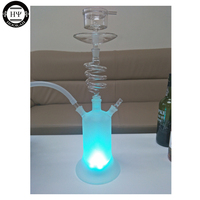 WHITE COLOR LED SPIRAL GLASS HOOKAH SHISHA WITH LED LIGHT REMOTE CONTROL CLEAN EPE FOAM PACKAGE