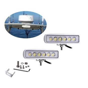 2Pack White 18W LED Marine Spreader Deck/Mast Work lights For Boat Flood Light Bar