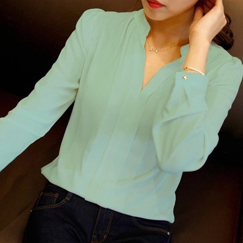 Spring Autumn White Blouses Office Shirts Women V Neck Tops Long Sleeve Chiffon Blouse Female Ladies Work Wear 3 Colors(China)