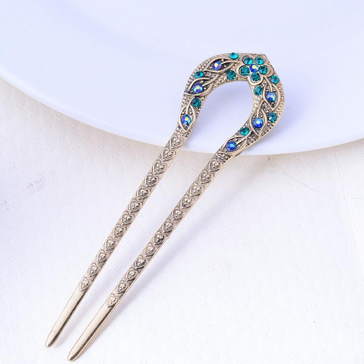 Vintage Hair Tilbehør Antik Bronse Plated Hairpins U Forme Hair Stick Pin Women Rhinestone Flower Hair Smykker