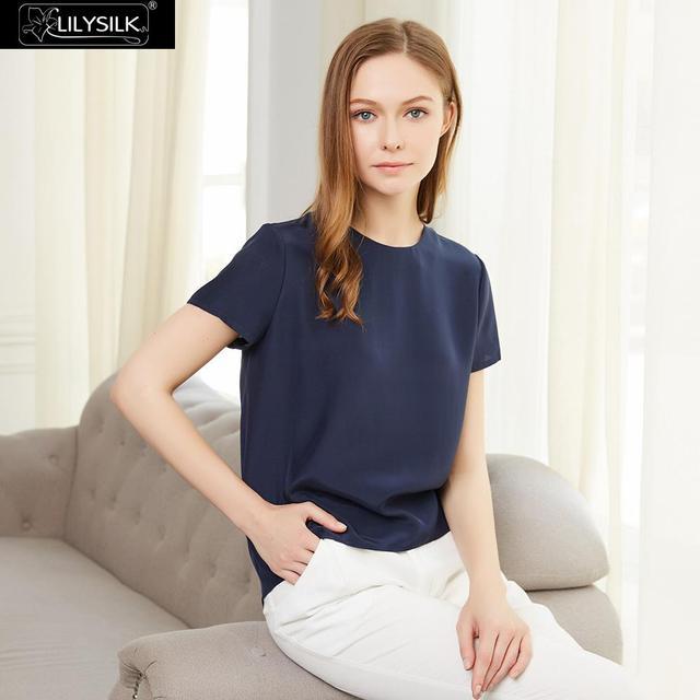 LilySilk Silk Blouse Women Top Shirt Short Sleeve Tee Ladies Pure Nature Mulberry Round Collar Button Slit Back Closure Elegant 2