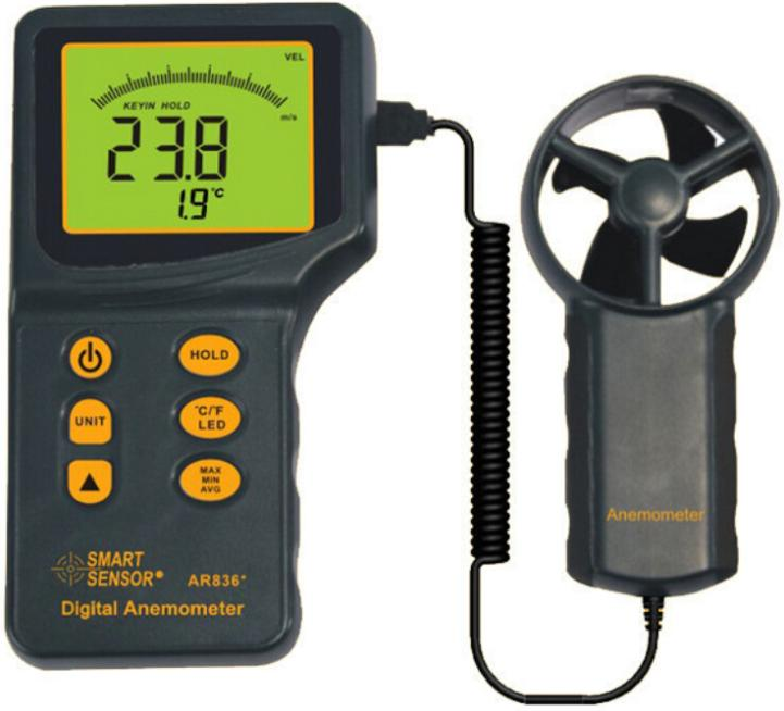Digital Anemometer Handheld with temperature Wind Speed Meter Measuring Range 0.3~45m/s free shipping gm8901 45m s 88mph lcd digital hand held wind speed gauge meter measure anemometer thermometer