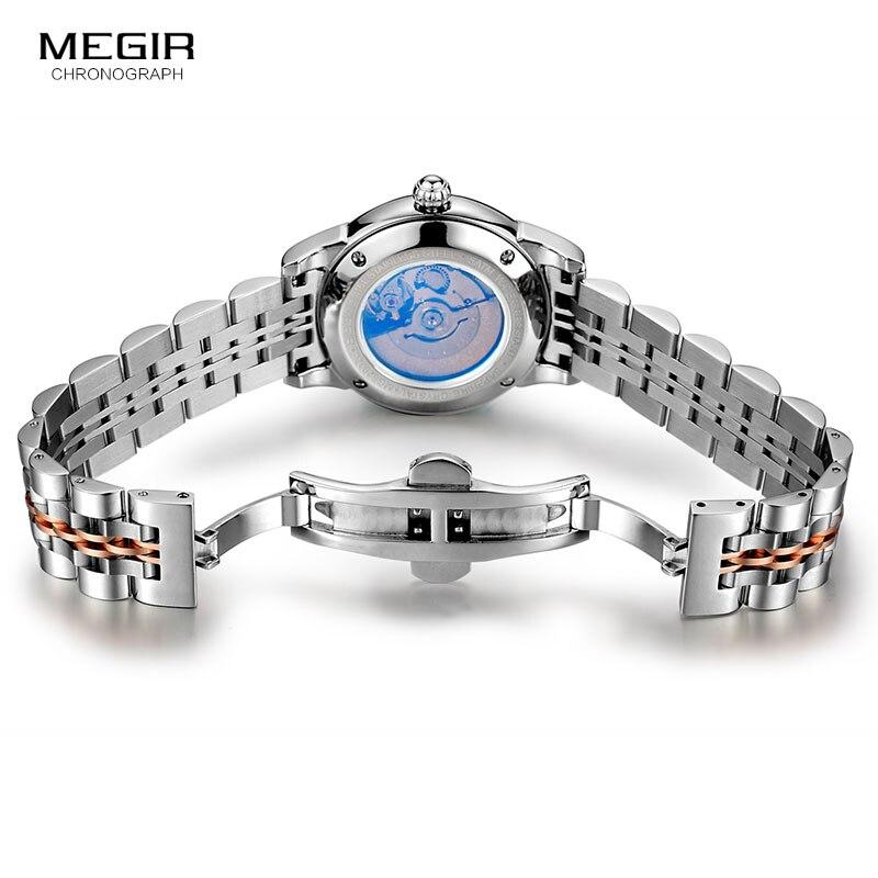Reloj de pulsera MEGIR para mujer mecánico esqueleto reloj de pulsera 2019 moda Acero inoxidable Casual elegante mujer regalo RS62002LWhite-Rose - 6