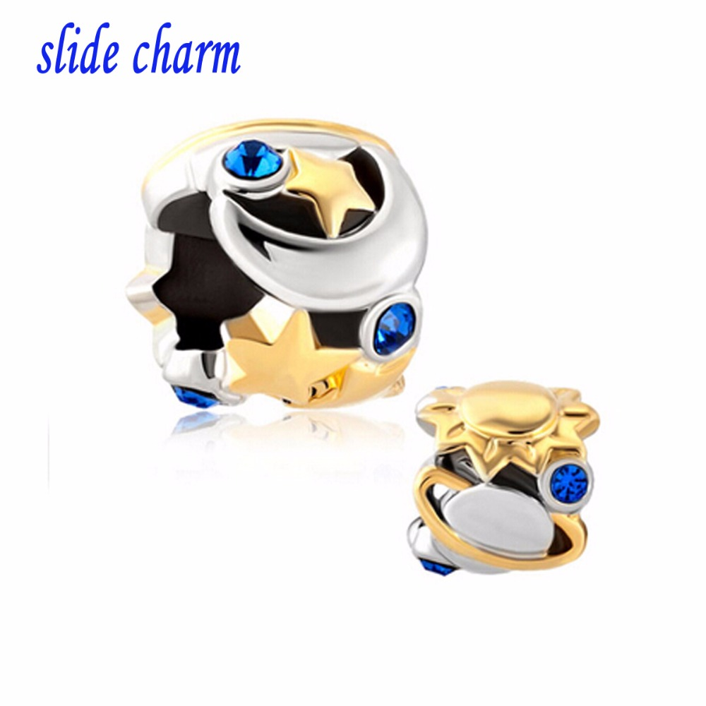 slide charm Free shipping Europe and the new listing of the universe planet religious amulet charm beads fit Pandora bracelet