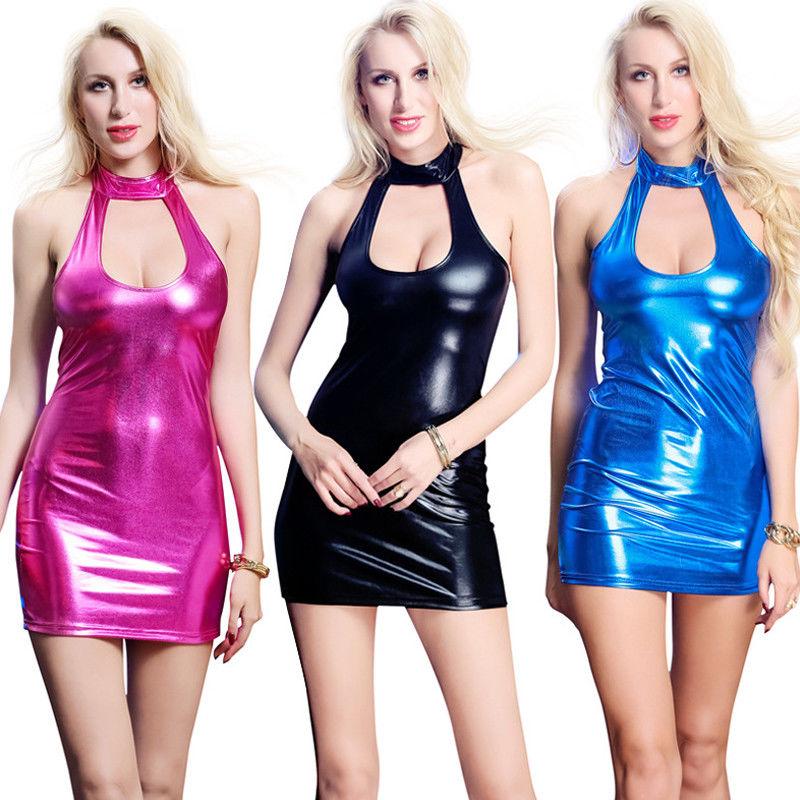 Halterneck Leather Bodycon Out Sleeveless Women/'s Dress Clubwear Hollow PU Mini