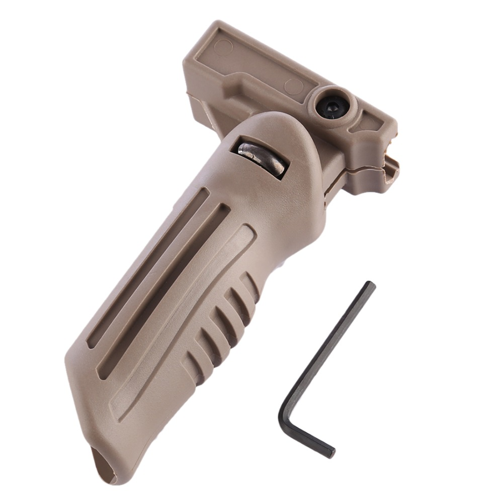 Converted Fittings Foldable Grip Nylon Duckbilled Grip for NERF with 21mm Guide Rail  Tan Color