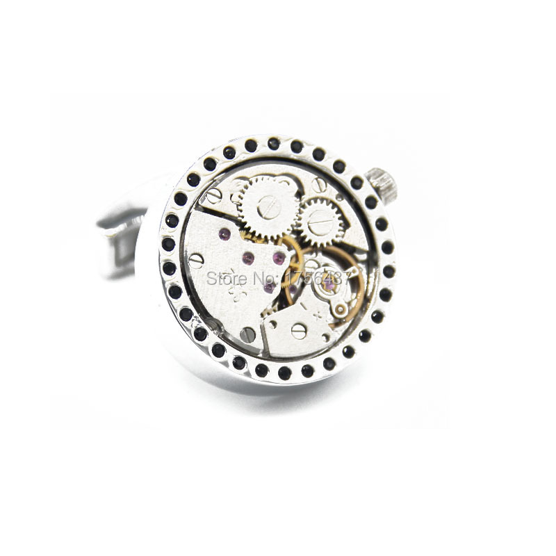 Wholesale retail Lepton 2015 New Functional Watch Movement Cufflinks Black Crystal cufflinks Steampunk Gear cuff links
