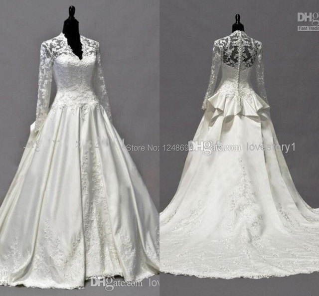 2015 Kate Middleton Wedding Dresses Long Sleeves Fall Vintage Style A Line V Neck Ivory Taffeta Applique Bridal GownsCustom Made