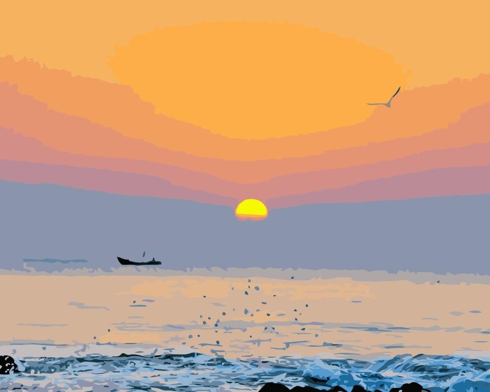 Barca A Vela Mare Pittura A Olio Di Diy Disegno Frameless Immagine