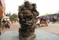 150401 S0179 16China Folk WuCai porcelain Lucky Happy face down Dragon Maitreya Buddha Statue
